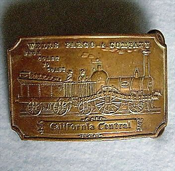 Bronze Wells Fargo Train Belt Buckle Marked Tiffany From