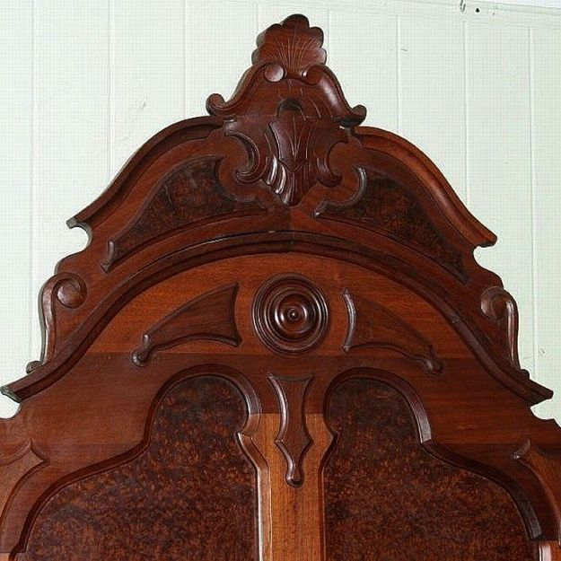 walnut victorian high back lincoln style bed, burl panels, carved