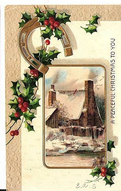 1909 Embossed Christmas Post Card Gold Horseshoe From