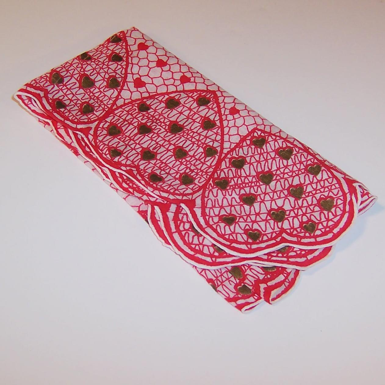 Large Red White Amp Gold Hearts Valentines Day Hankie
