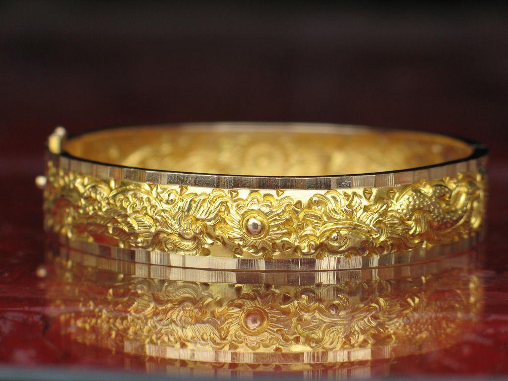 Estate GOLDEN Dragon And Phoenix Bracelet 18k Gold