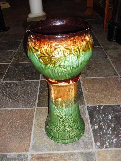 Vintage Jardiniere Pottery Stand And Planter Robinson