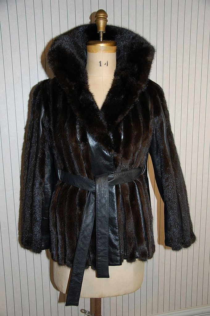 Mod Mink Fur And Black Leather Jacket Coat From