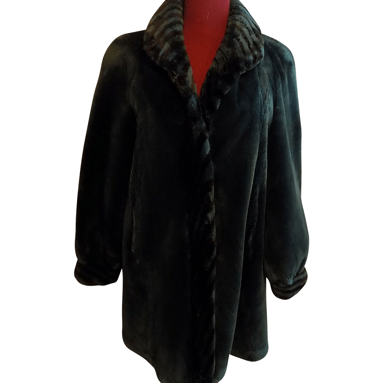 Rare Green Sheared Beaver Let Out Fur Coat Stroller A Line