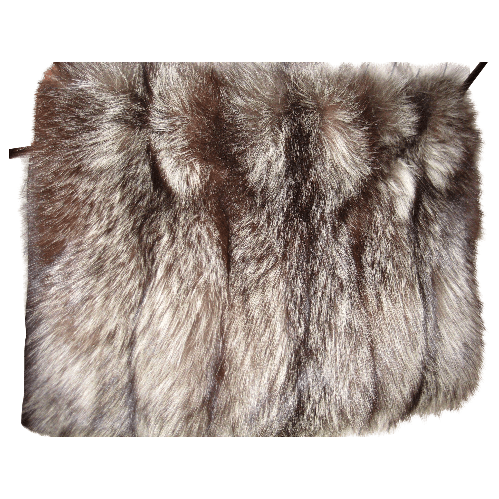 Fluffy Rare Silver Fox Fur Hand Muff W Secret Zippered