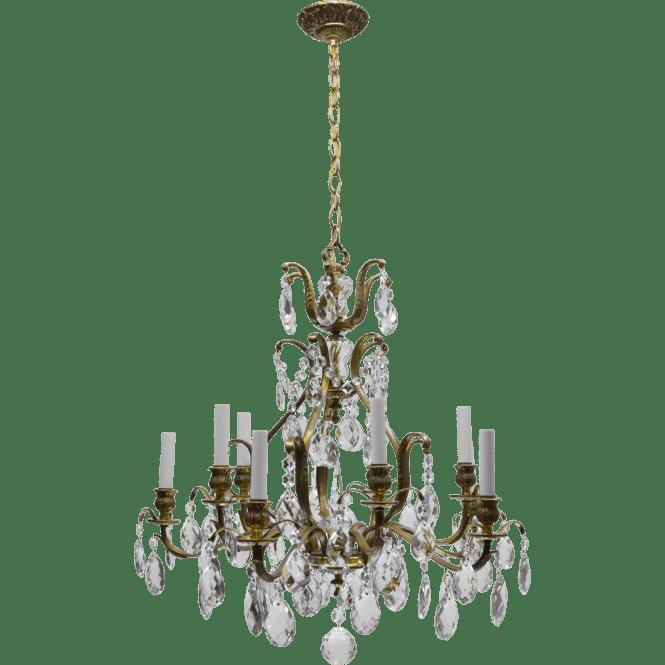 Vintage Swedish Chandelier Brass Crystal 10 Lights The Old Light Warehouse Ruby Lane