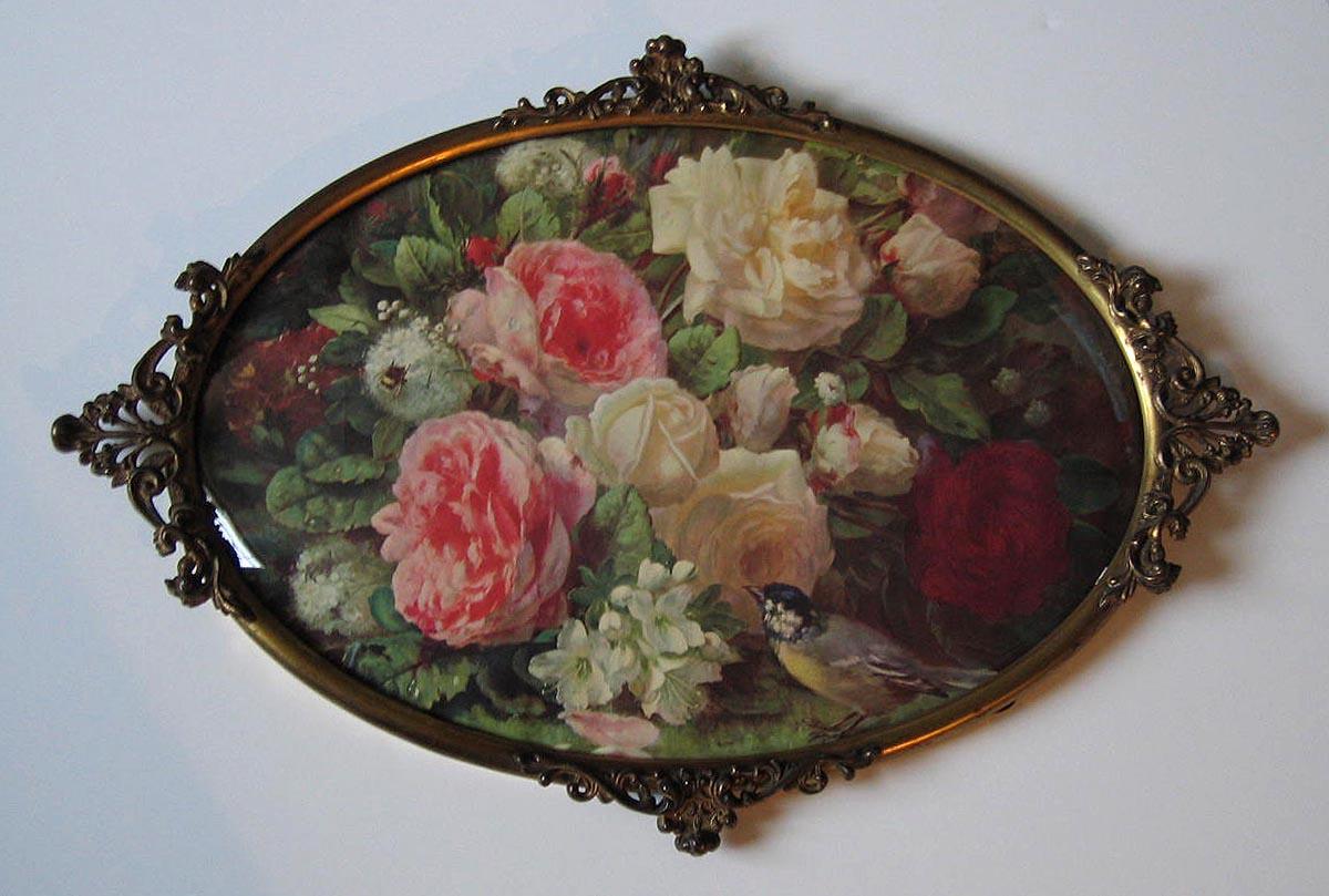 Vintage Cabbage Roses Print Fragrance In Bloom Jean