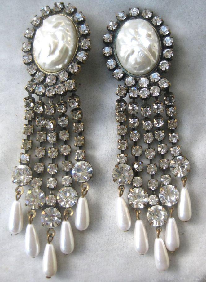 Unsigned K J L Rhinestones Faux Pearls Chandelier Earrings