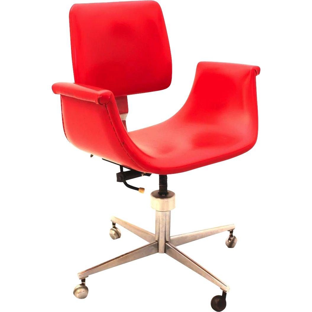 Mid Century Modern Swivel Desk Chair In The Style Of Gastone Rinaldi