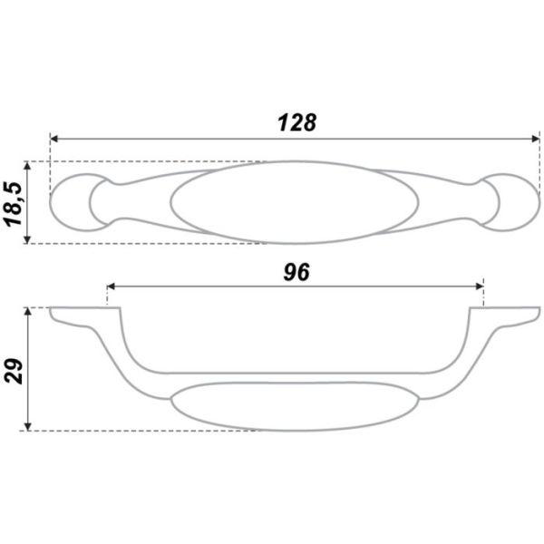 1000 Мелочей - Ручка-скоба BOYARD RS113AB.3, 96 мм, узор 4 ...