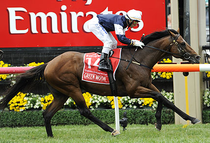 Green Moon wins the Melbourne Cup 2012 (AAP Image/Julian Smith)
