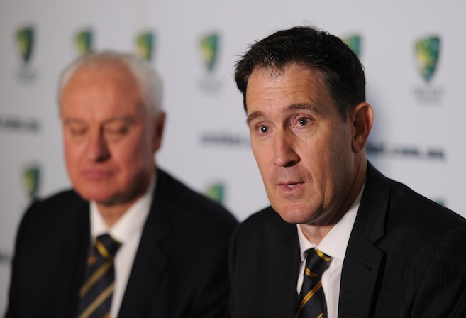 Cricket Australia CEO James Sutherland and chairman Wally Edwards