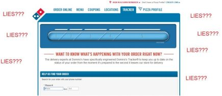Dominos Tracker app sits on a throne of lies