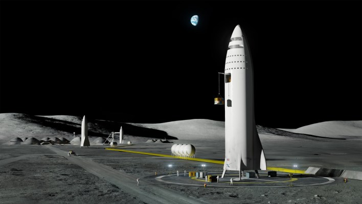 An artist's impression of SpaceX's BFR rocket on the moon