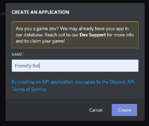 Discord new application form