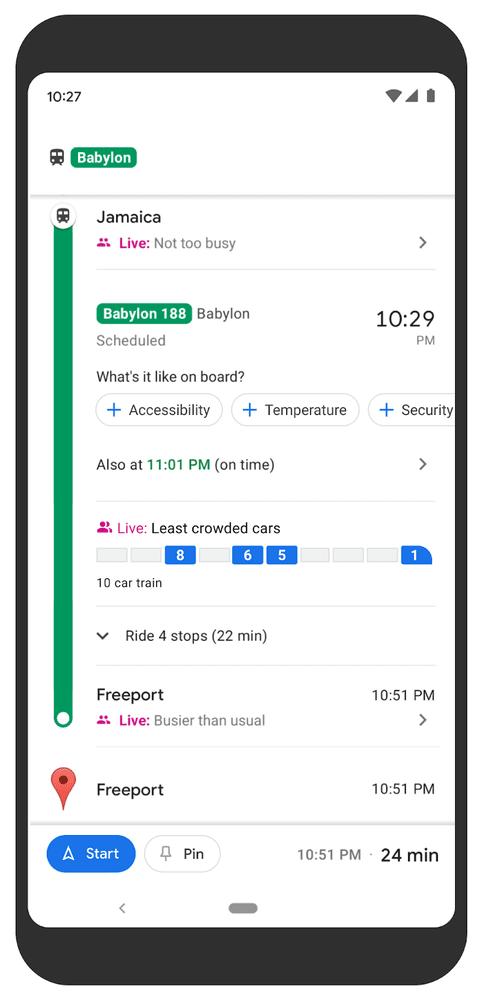 Google Maps transit crowdedness predictions.