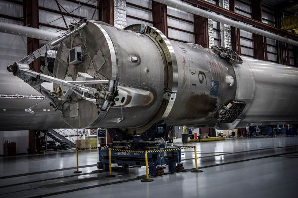 SpaceX transports its landed Falcon 9 rocket to its ...