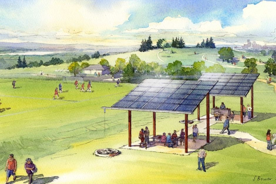 Architectural sketch of a shared solar project at Jefferson Park, in Seattle's Beacon Hill. (Stephanie Bower, via Seattle City Light)