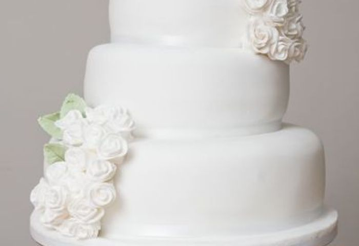 3 Tier Stacked White Rose Wedding Cake From Vintage And Cake Photo 4