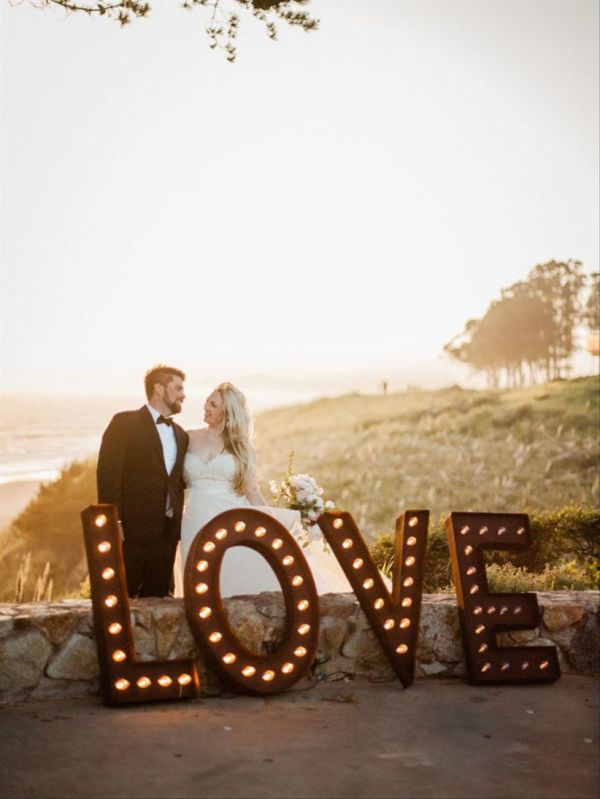 oversized marquee love letter sign