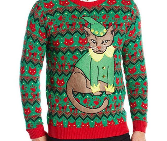 Blizzard Bay Mens Grumpy Elf Cat Ugly Christmas Sweater