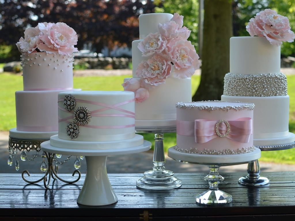 Blush And Silver Wedding Cakes With Sugar Peonies   CakeCentral com