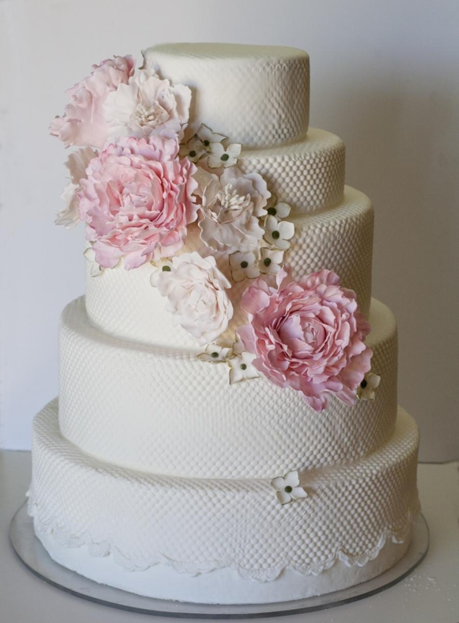 Peony Lace Wedding Cake