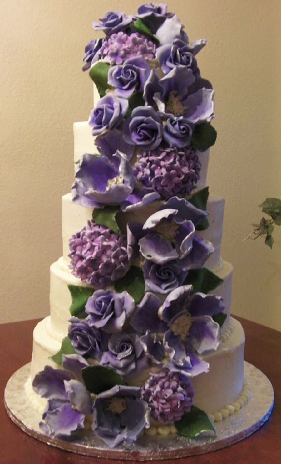5 Tier White Cake With Pina Colada Filling And Coconut