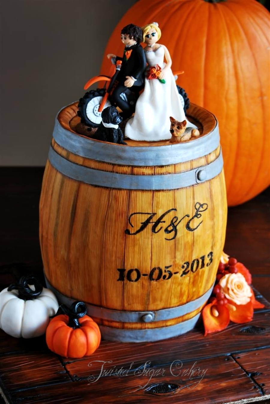 A Truly Personalized Wedding Cake A Rustic Whiskey Barrel