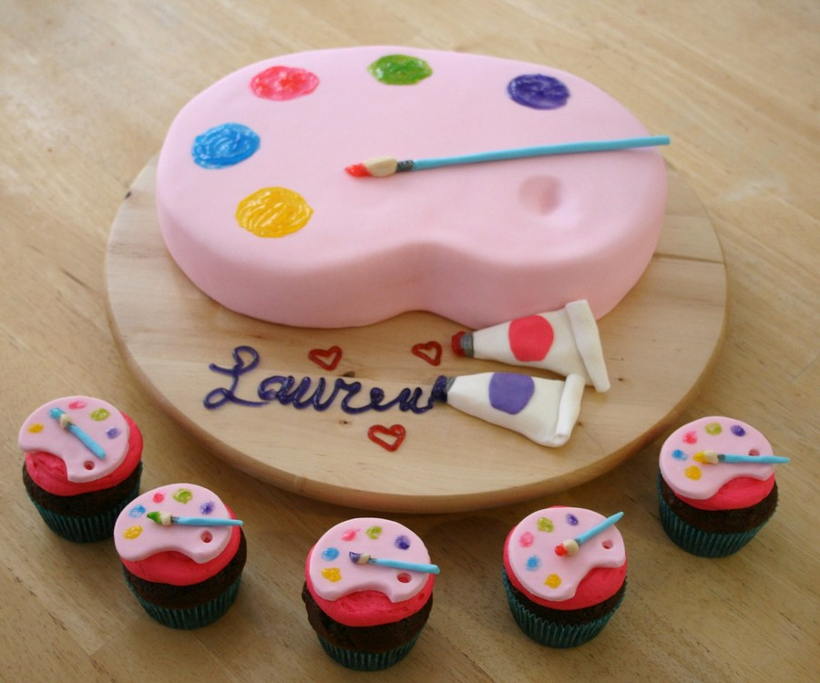Artist Palette Bday Cake And Cupcakes Cakecentral Com