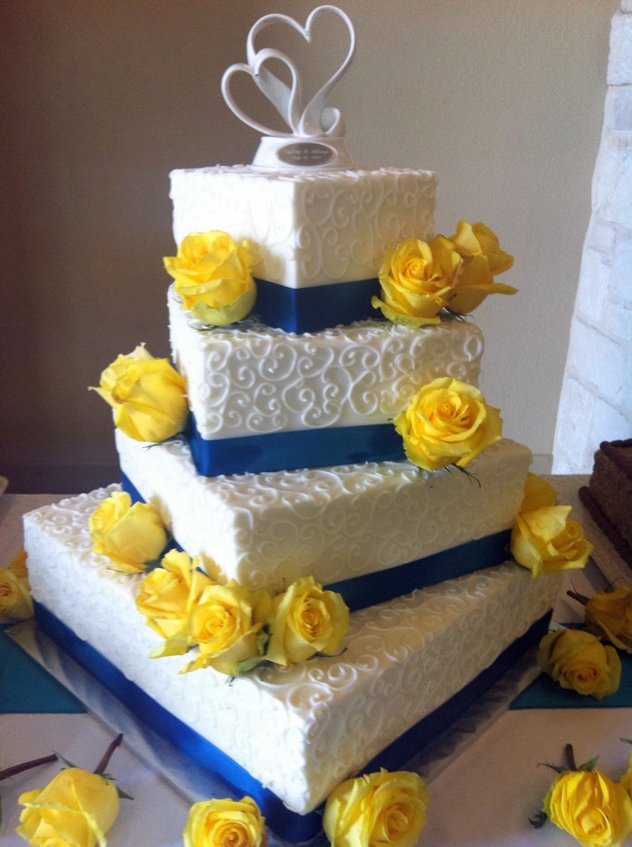 White  Blue And Yellow Wedding Cake   CakeCentral com White  Blue And Yellow Wedding Cake on Cake Central