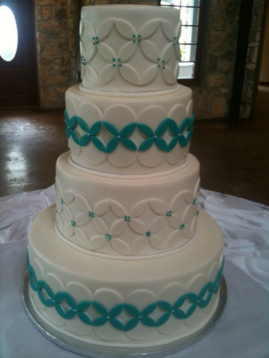 White Turquoise Wedding Cake Cakecentral Com