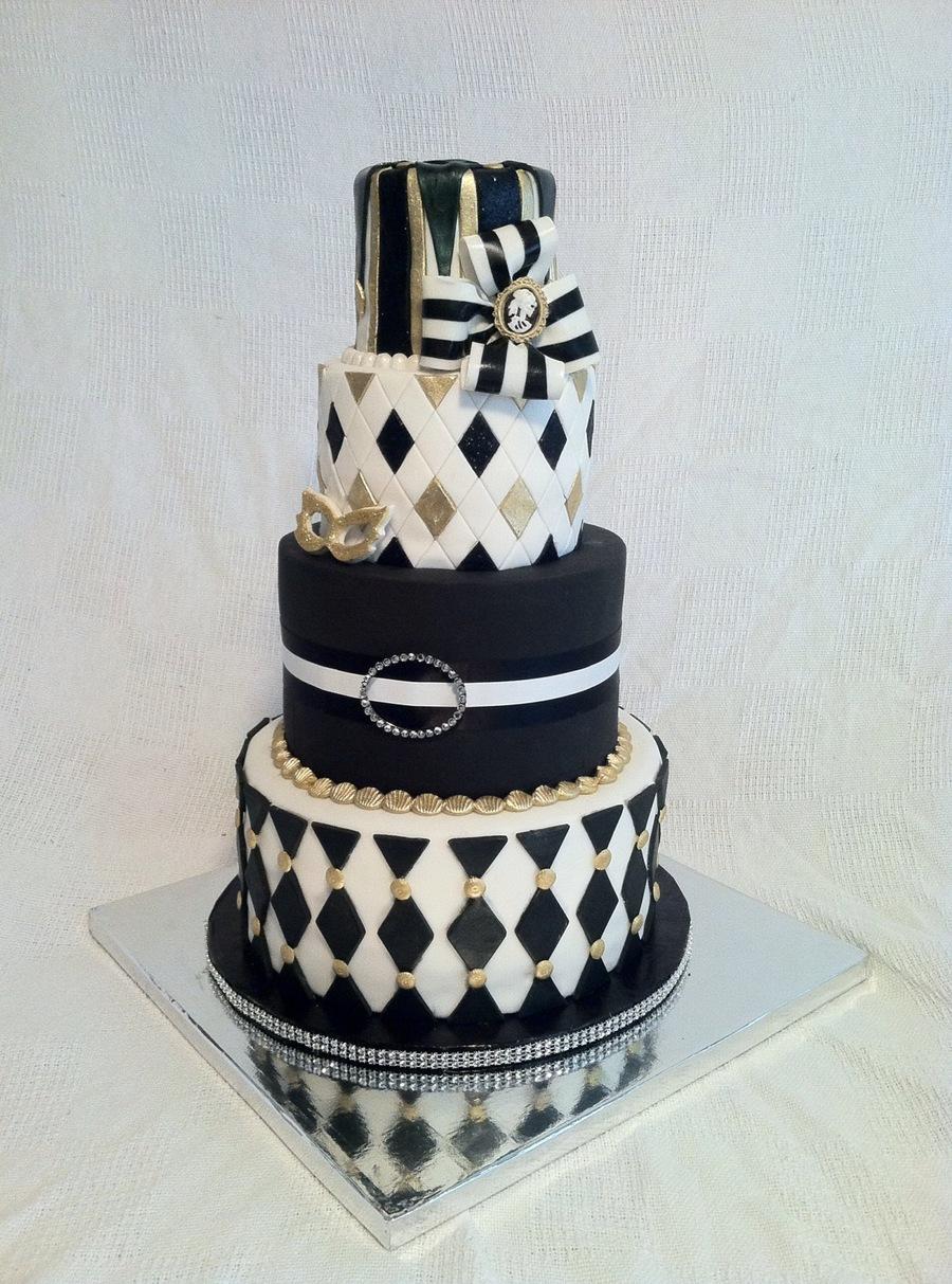 Harlequin Halloween Party Cake