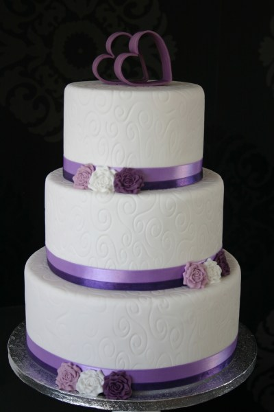 White Purple Wedding Cake   CakeCentral com White purple wedding cake