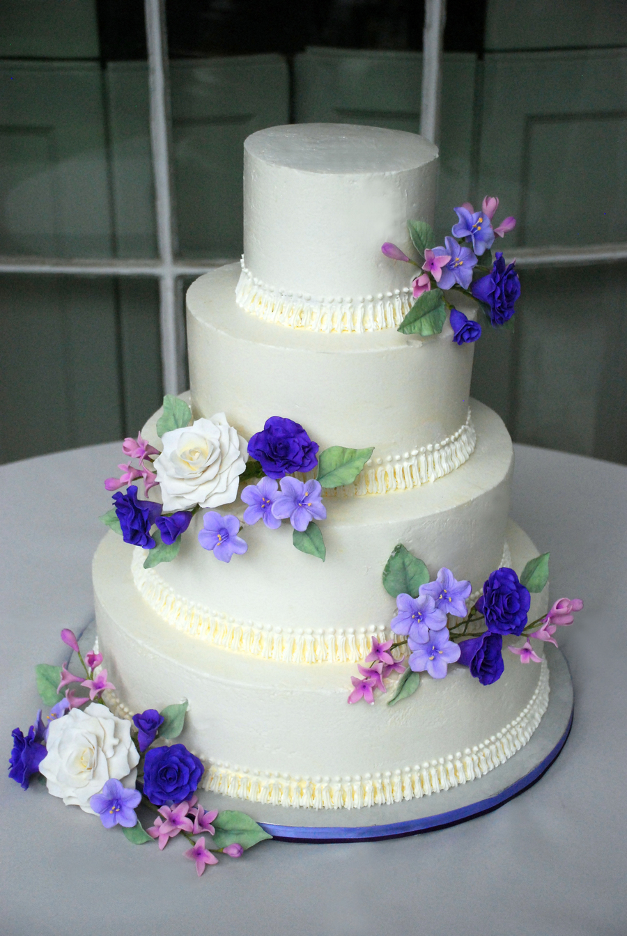 Purple Gumpaste Flowers 4 Tier Cake
