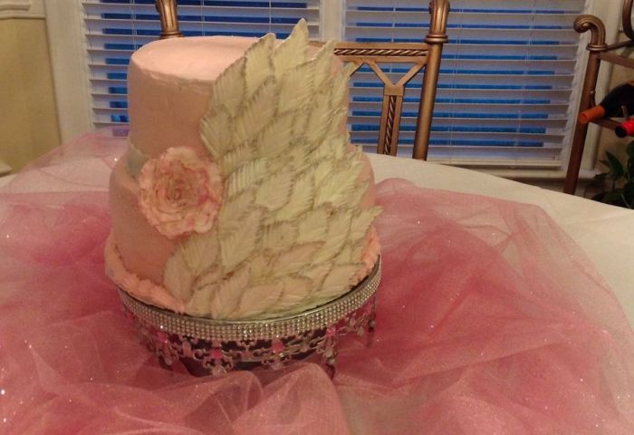 Birthday Cake Made With Cream Cheese Frosting And Fondant Leaves And