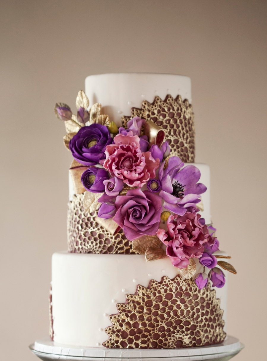 Purple Amp Gold Wedding Cake Cakecentral Com