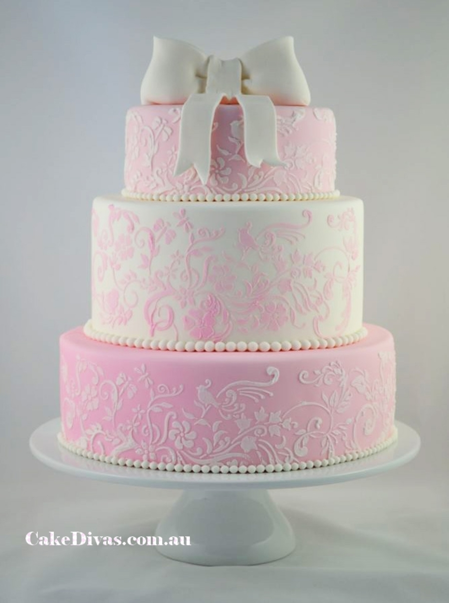 Romantic Pink And White Wedding Cake   CakeCentral com Romantic Pink And White Wedding Cake on Cake Central