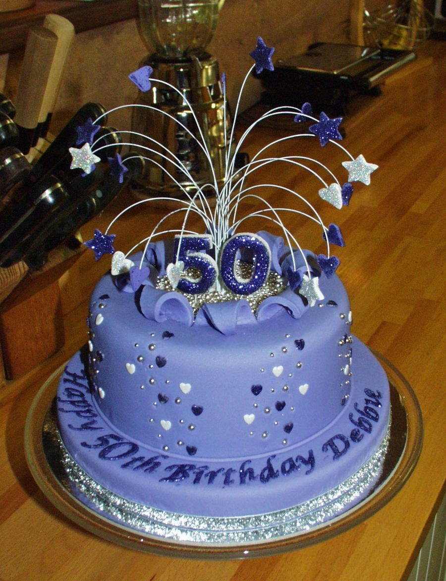 Purple Stars And Hearts 50th Birthday Cutting Cake And