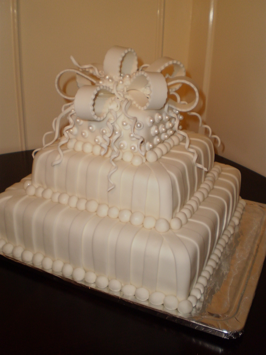 White With Pearls Square 3 Tier Wedding Cake