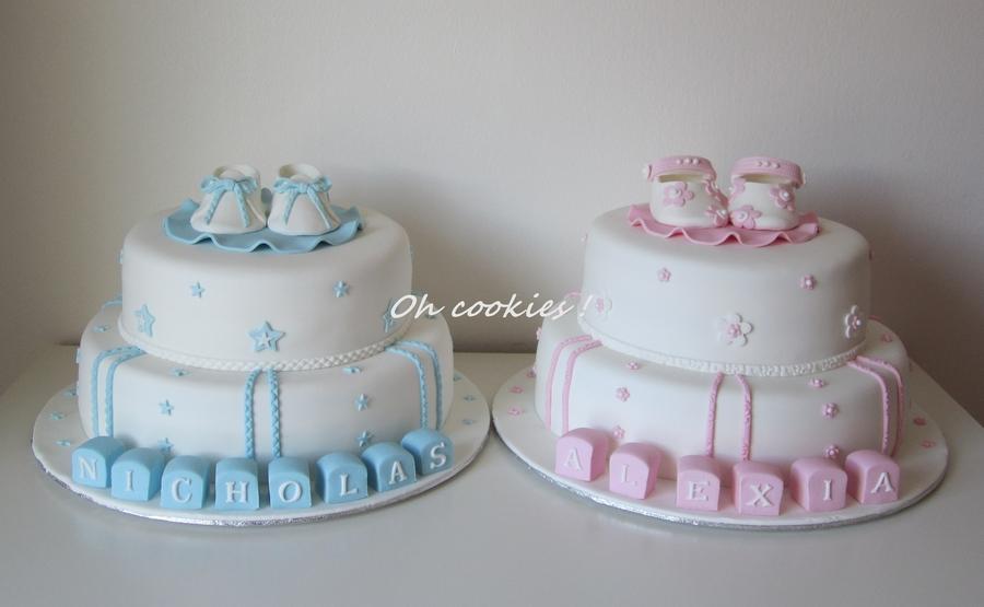 Twins Baptism Cake