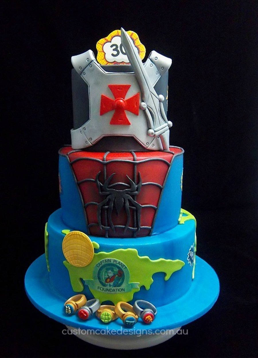 Superhero Cake Captain Planet Spiderman And He Man