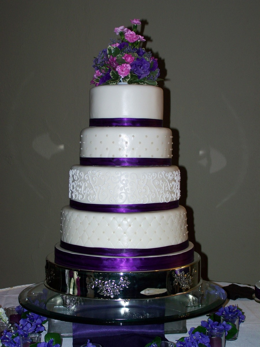 Purple Amp White Stacked Fondant Wedding Cake