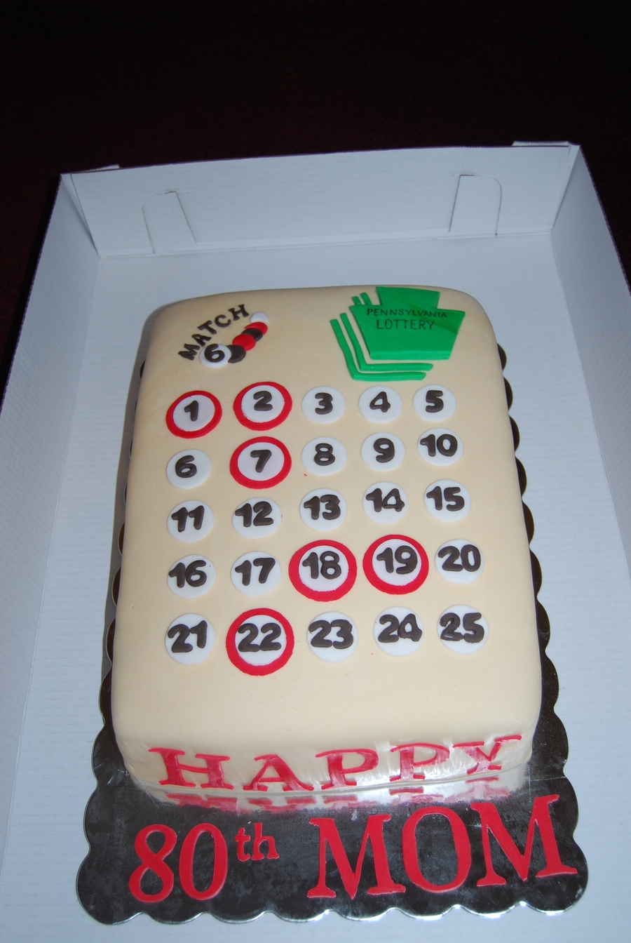 Pa Lottery Ticket Birthday Cake Cakecentral Com