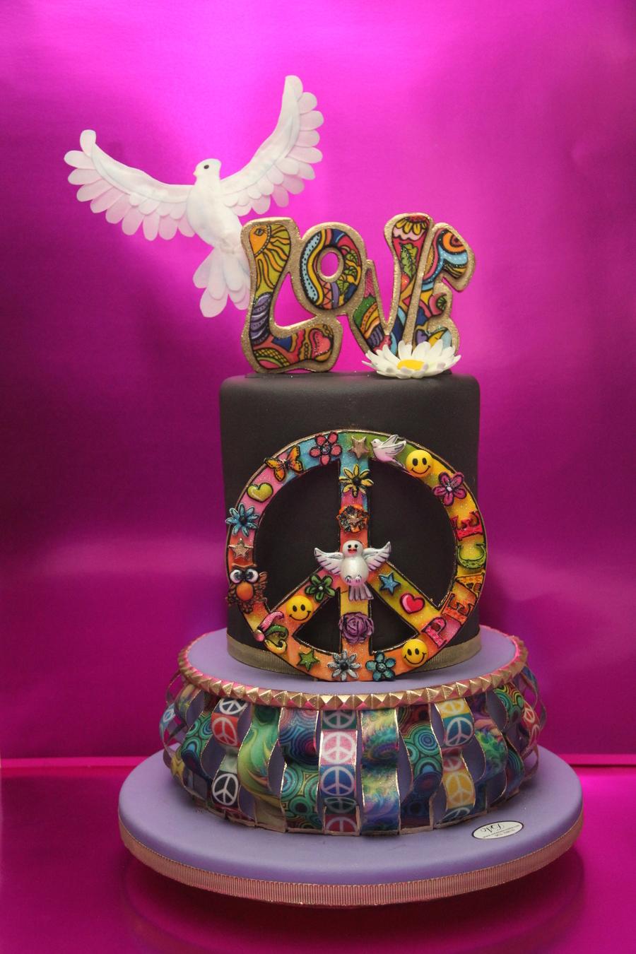 Retro Birthday Cake Word Love And Peace Symbol Made Of