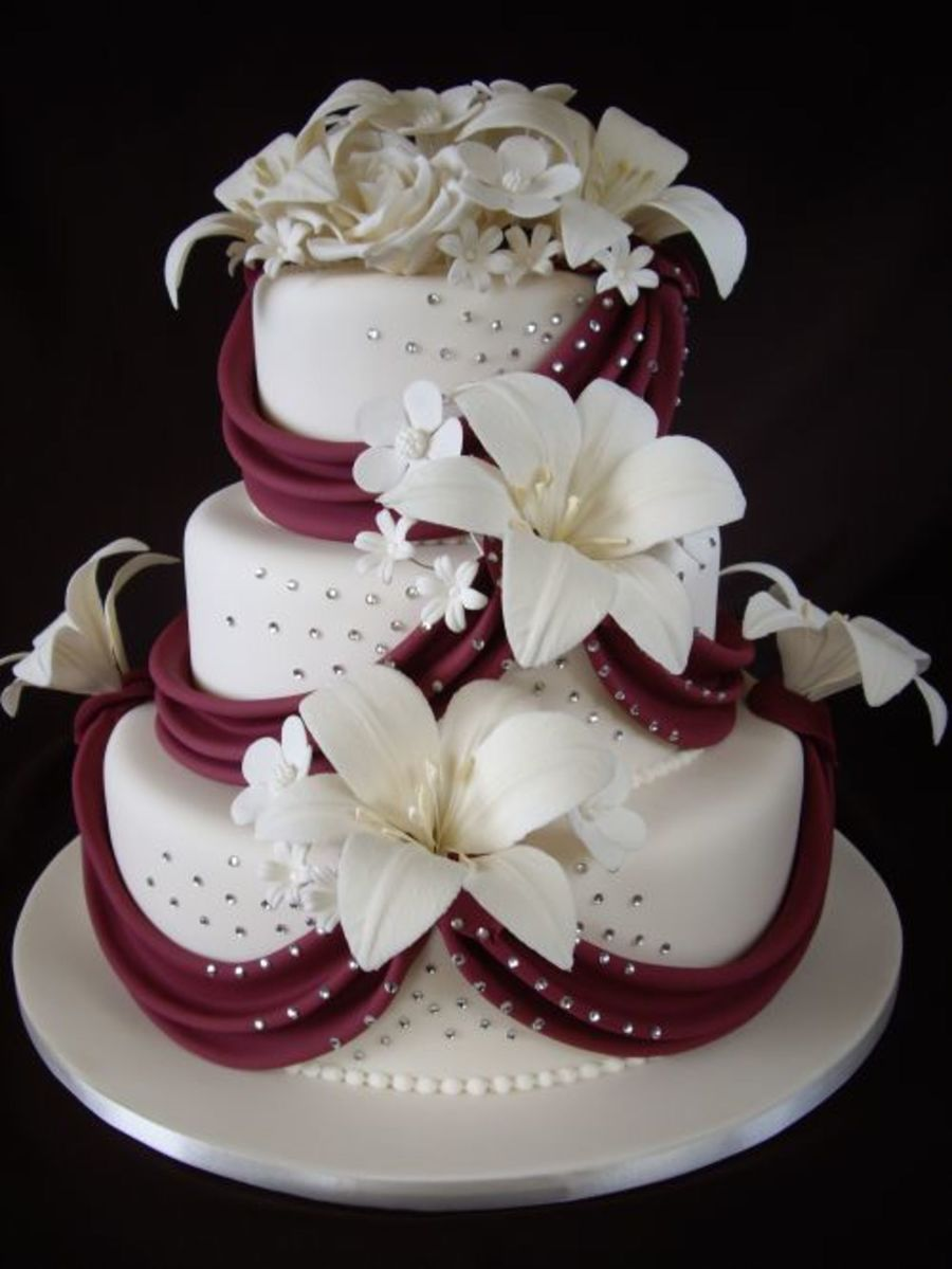 Floral Bouquet With Burgundy Draping Cakecentral Com