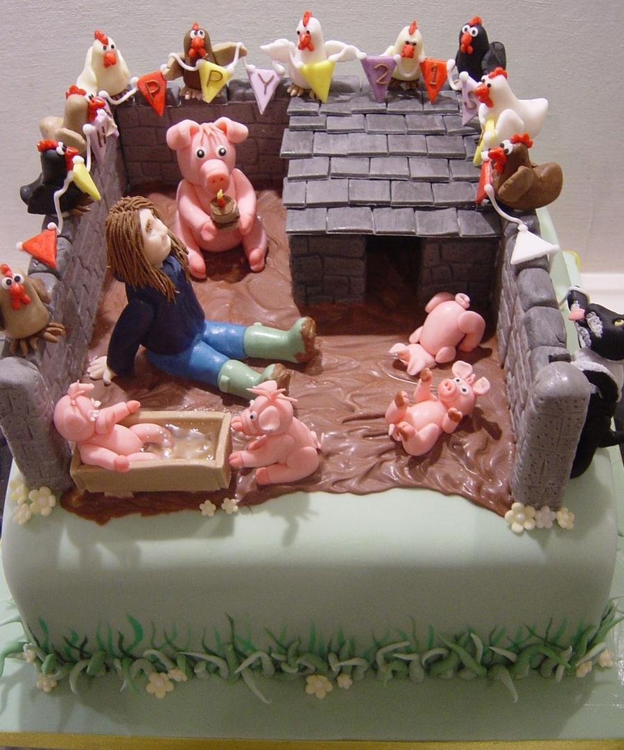 21st Birthday Pigsty Cake Cakecentral Com