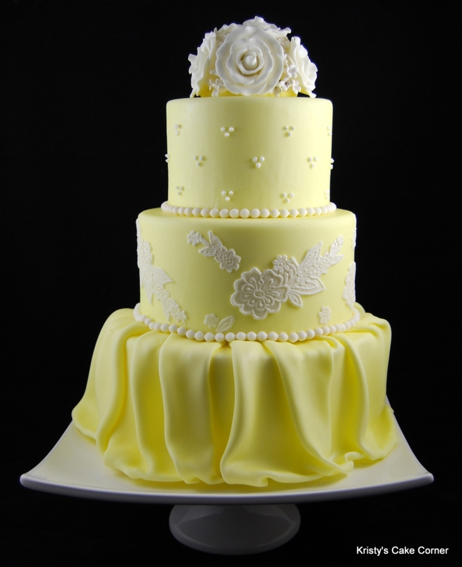Yellow   White Wedding Cake   CakeCentral com