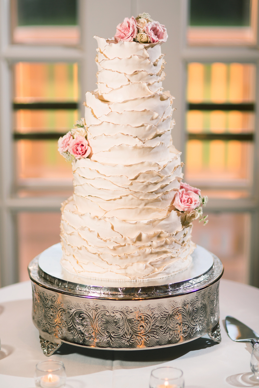 Hand Ruffled Wedding Cake With Gilded Edges