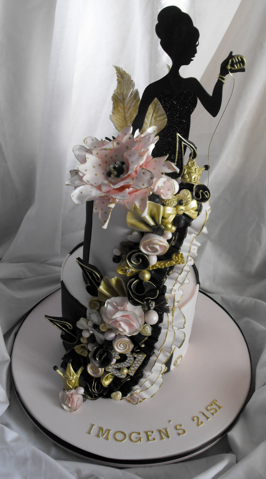 2 Tier Pink Black And Gold 21st Birthday Cake